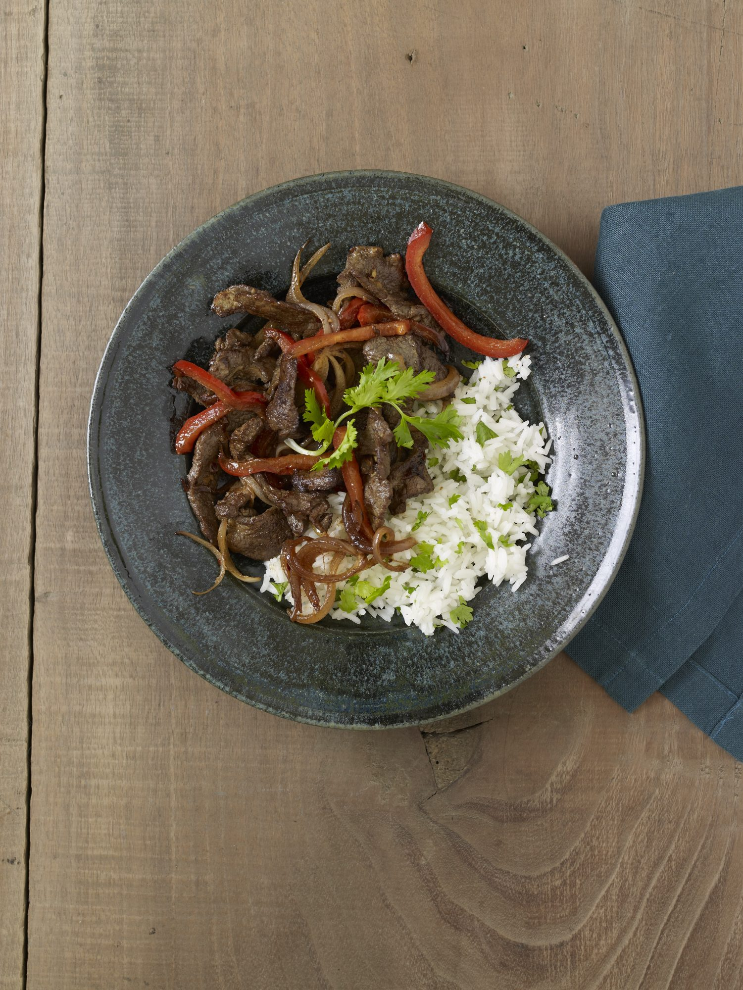 Spicy Stir-Fried Lamb with Cilantro Rice