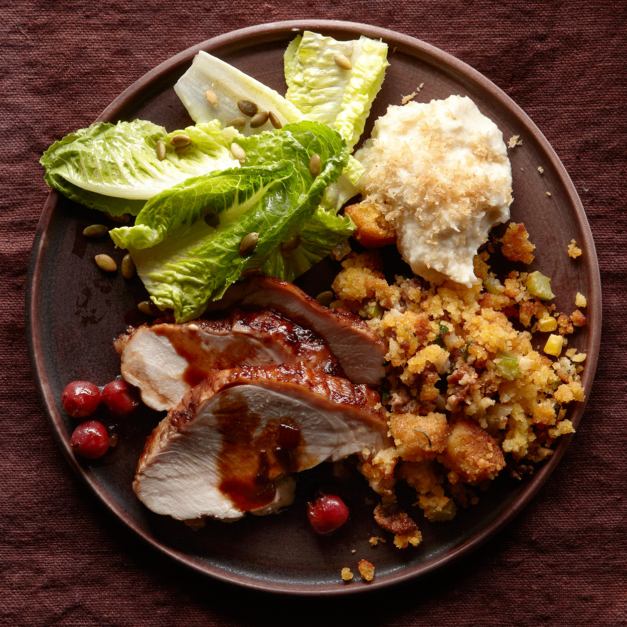 Thanksgiving meal on plate