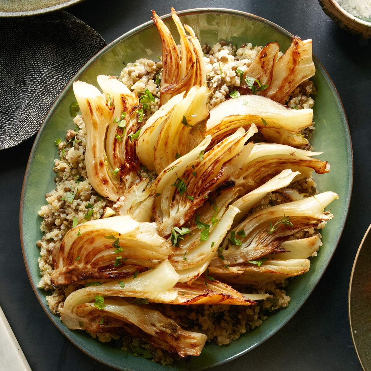 braised fennel with lentil quinoa pilaf