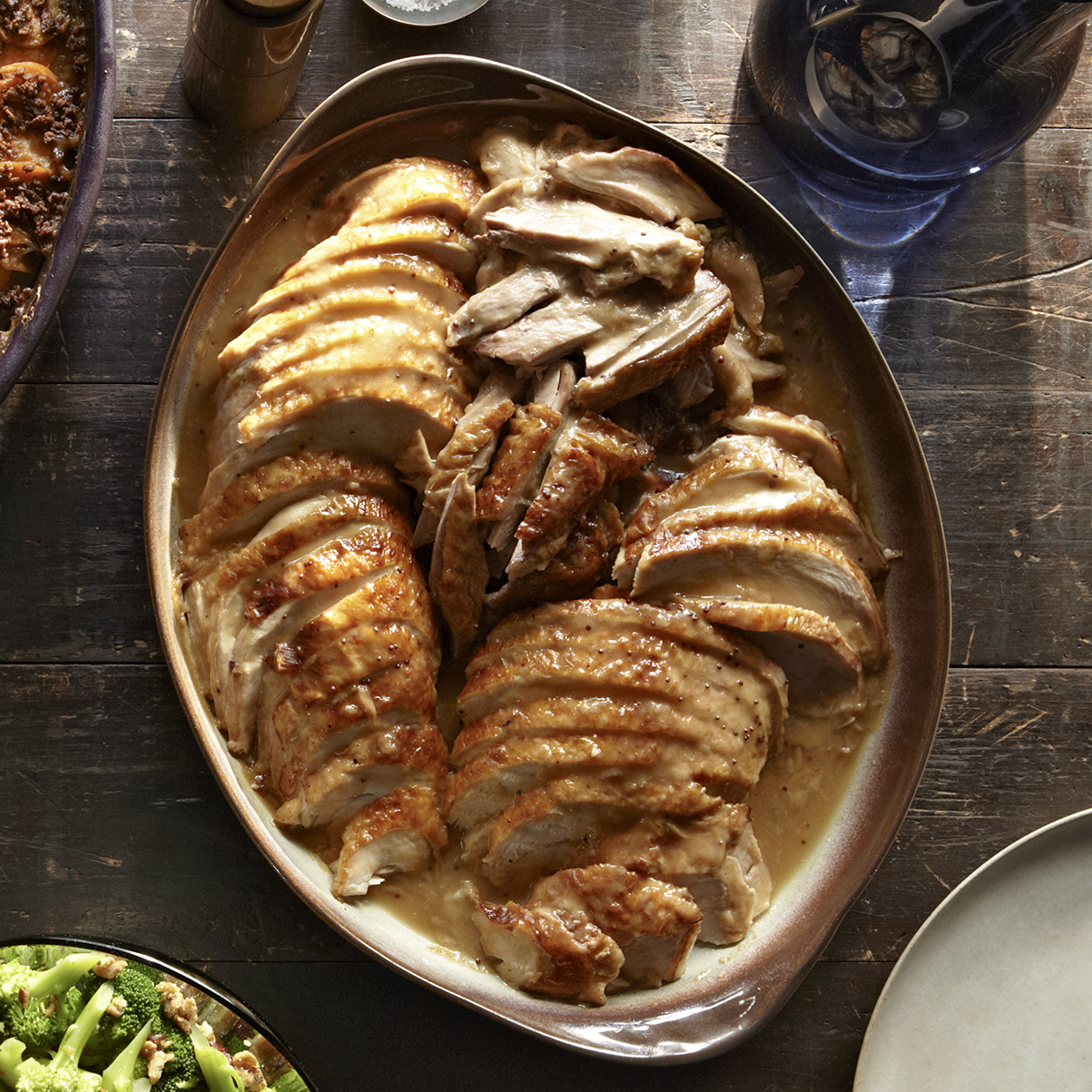 brined dijon turkey with pan gravy