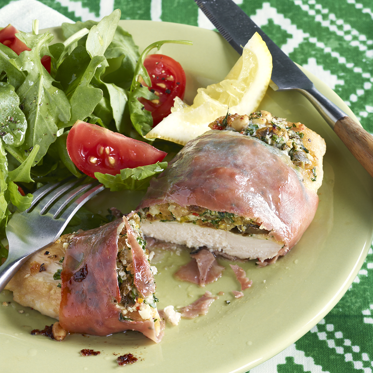 prosciutto-wrapped chicken cutlets with sweet and salty stuffing