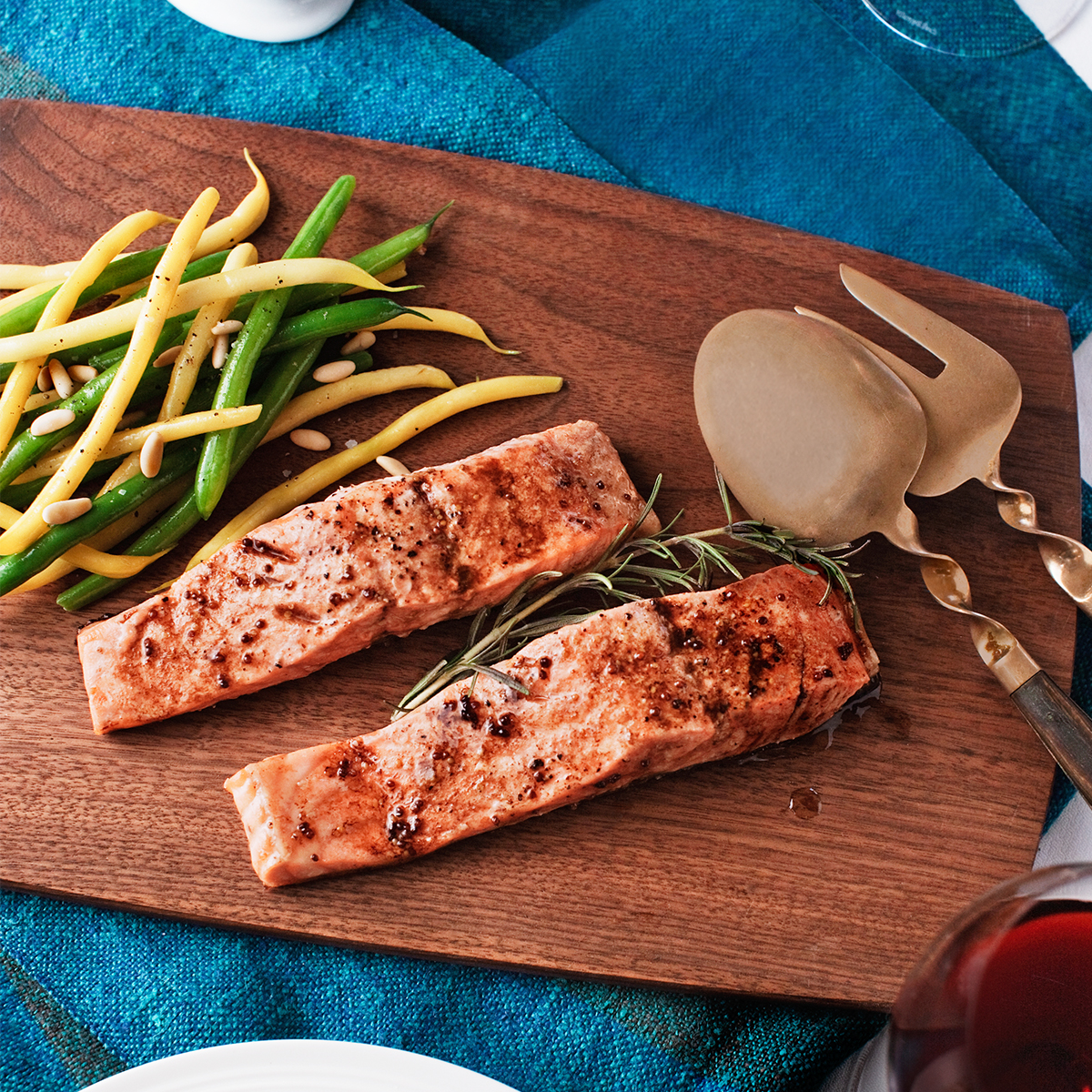 roasted salmon with mom's sauce, string beans, and pine nuts