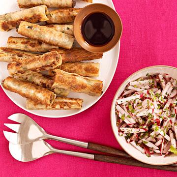 Potstickers with Radish Salad
