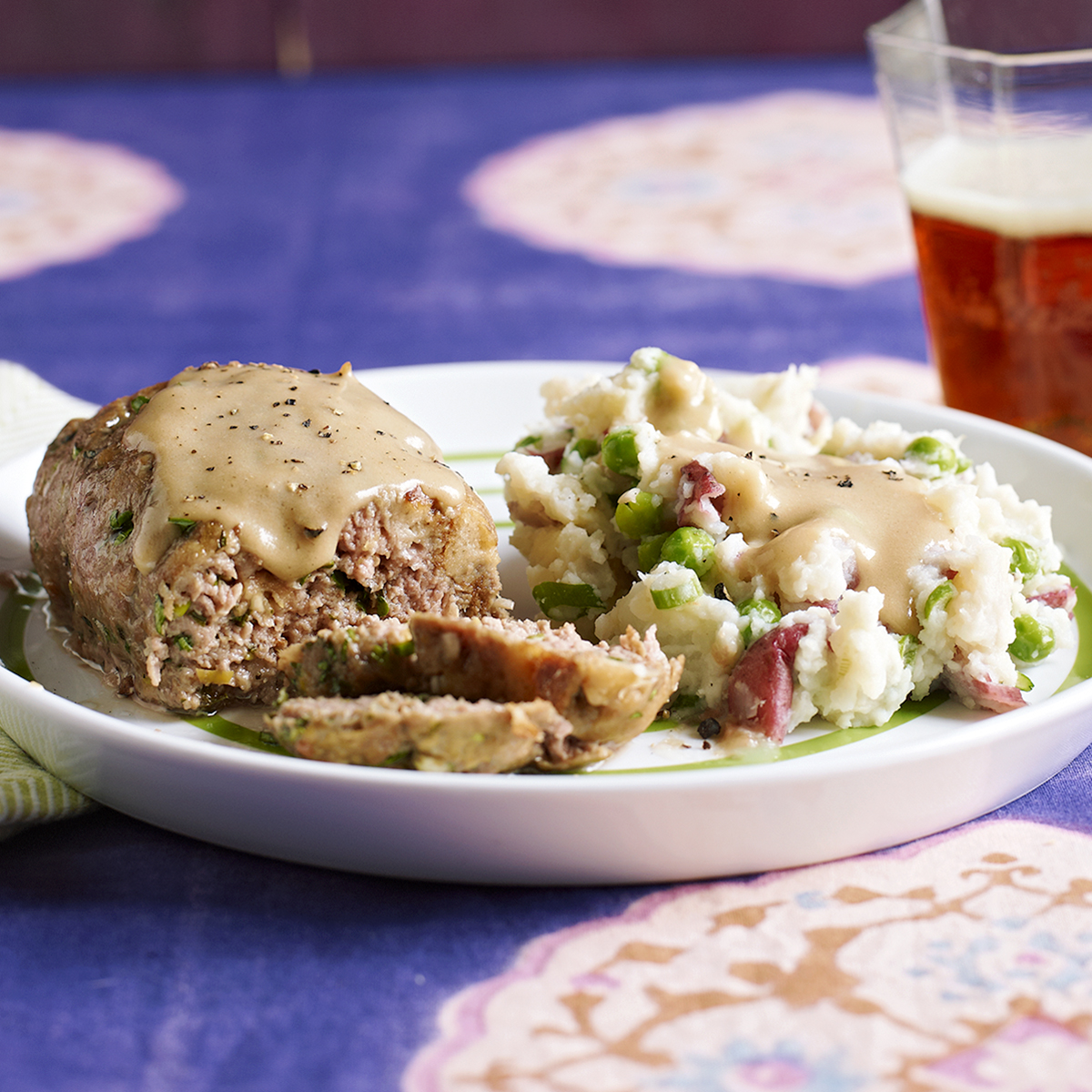spring meatloaf patties mashed potatoes peas