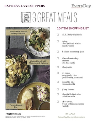 Express Lane Suppers Free Shopping List