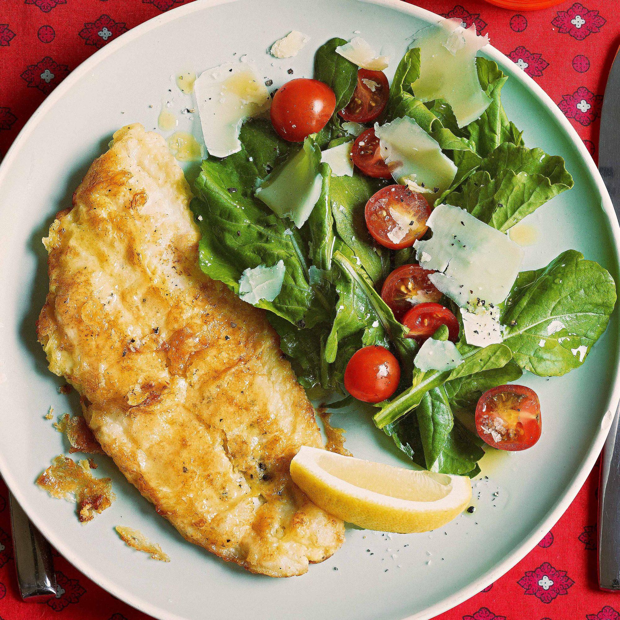 Lemon-Parm Sole with Arugula Salad