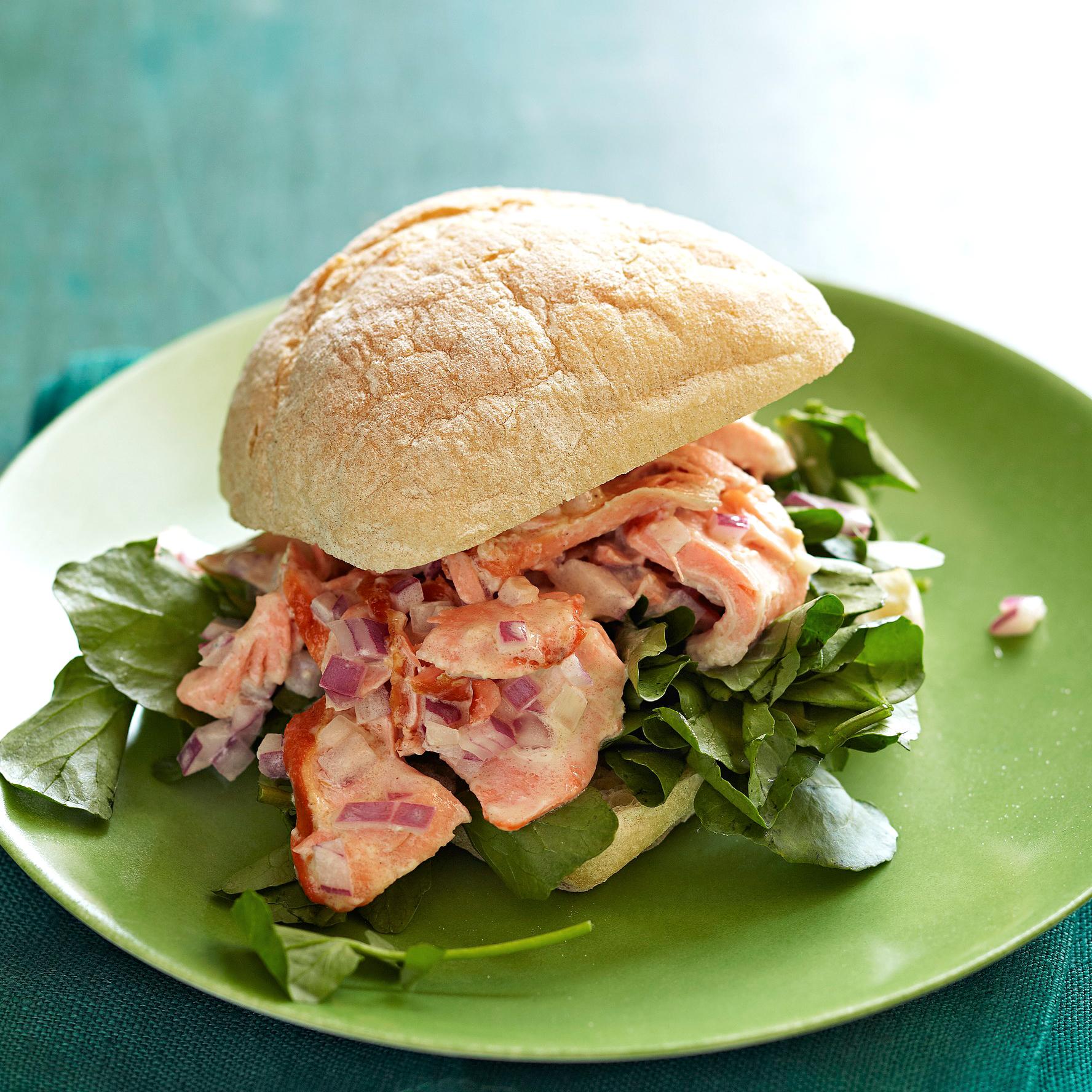 Salmon Salad on Ciabatta Rolls