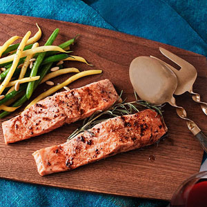 Roasted Salmon with Mom's Sauce, String Beans and Pine Nuts