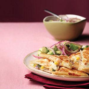 Shrimp-and-Corn Quesadilla with Avocado Salad