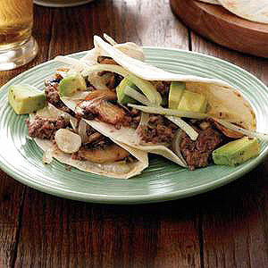 Beef-and-Mushrooms Tacos with Avocado Salad