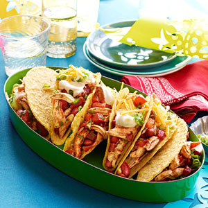 Pulled Chicken Tacos with Chili Salsa