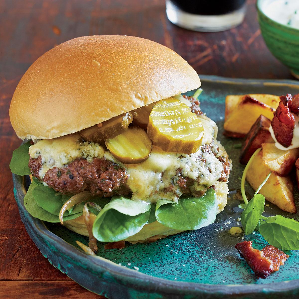 garlic sherry burgers with stilton pub browns with horseradish sauce
