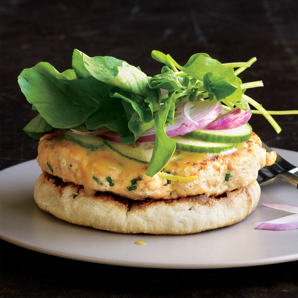 open face salmon burgers with honey mustard