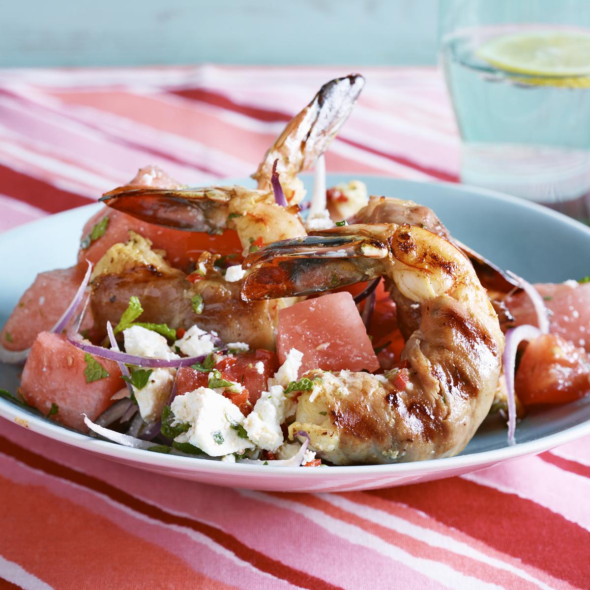 prosciutto-wrapped shrimp with watermelon-tomato salad
