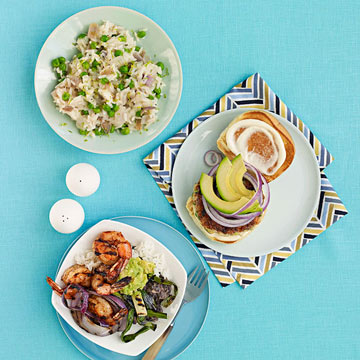 Shrimp Burgers, Creamy Rice & Sweet Peas, Grilled Shrimp Burrito Bowls