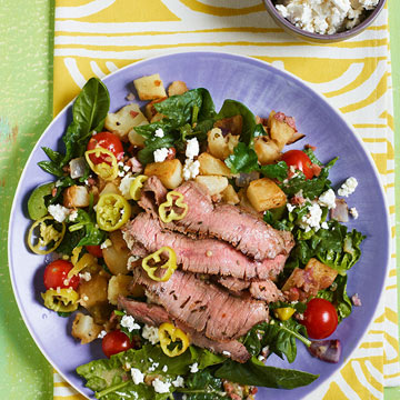 Warm Greek Salad with Sliced Steak