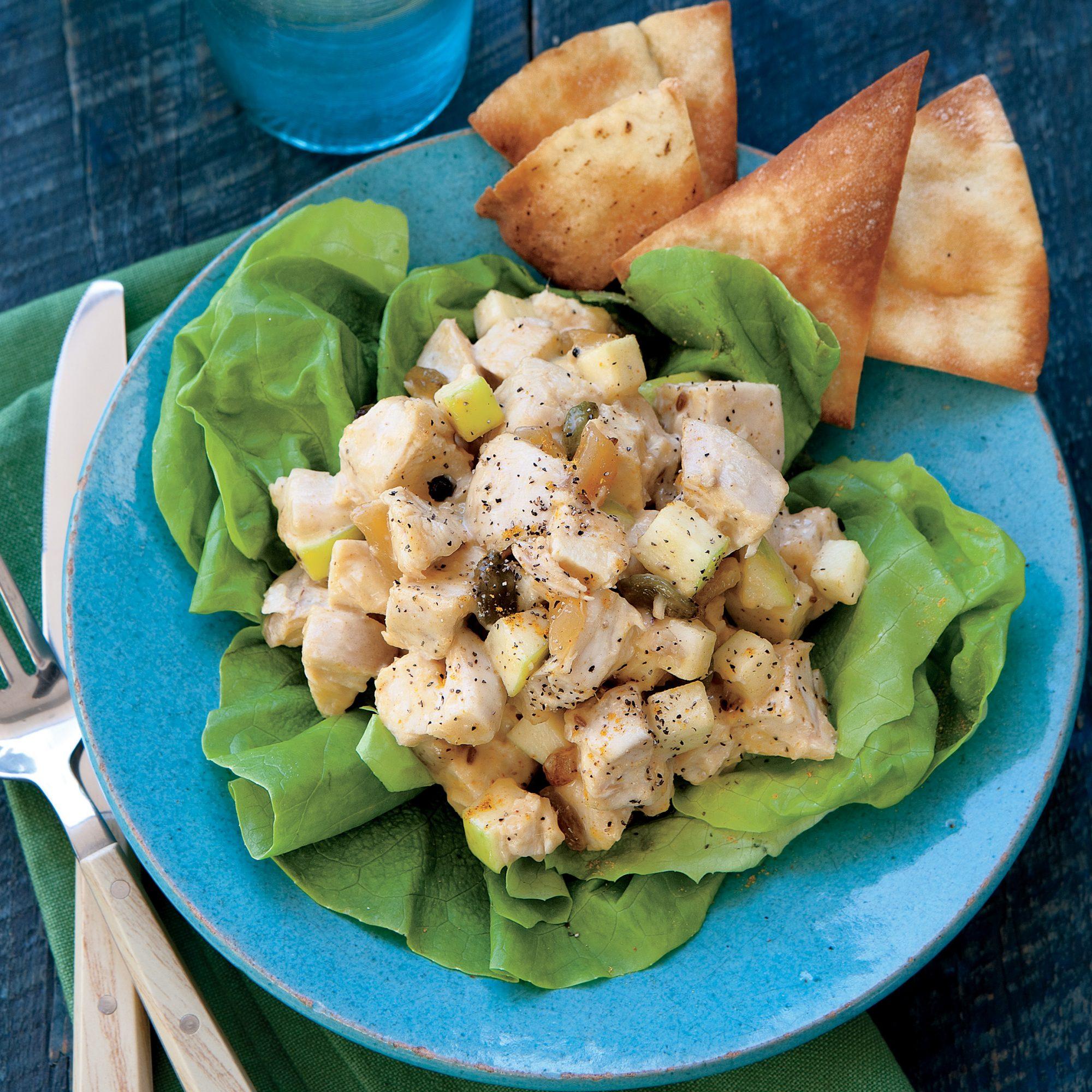 Coronation Chicken Salad with Pita Chips