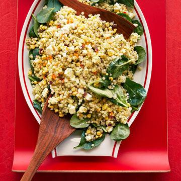 Corn, Feta & Couscous Salad with Basil Vinaigrette