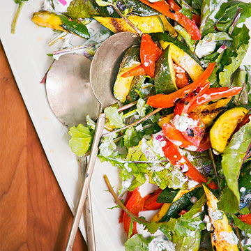 Grilled Curry Zucchini, Red Bell Pepper & Arugula Salad with Yogurt Dressing