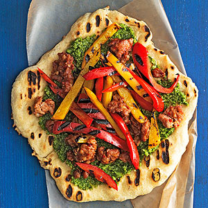 Hot Sausage & Sweet Pepper Pizzas with Almond Pesto