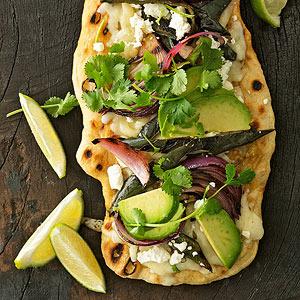 Poblano & Pepper Jack Pizzas with Avocado