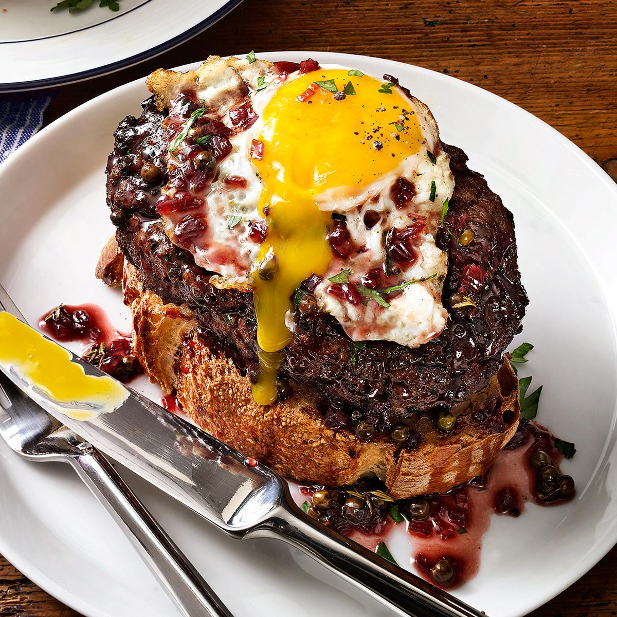 chopped sirloin burger with egg