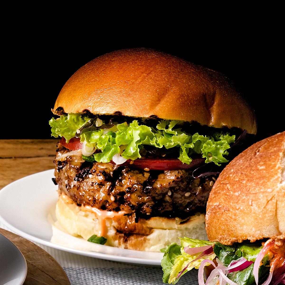 spicy tuna burger on plate