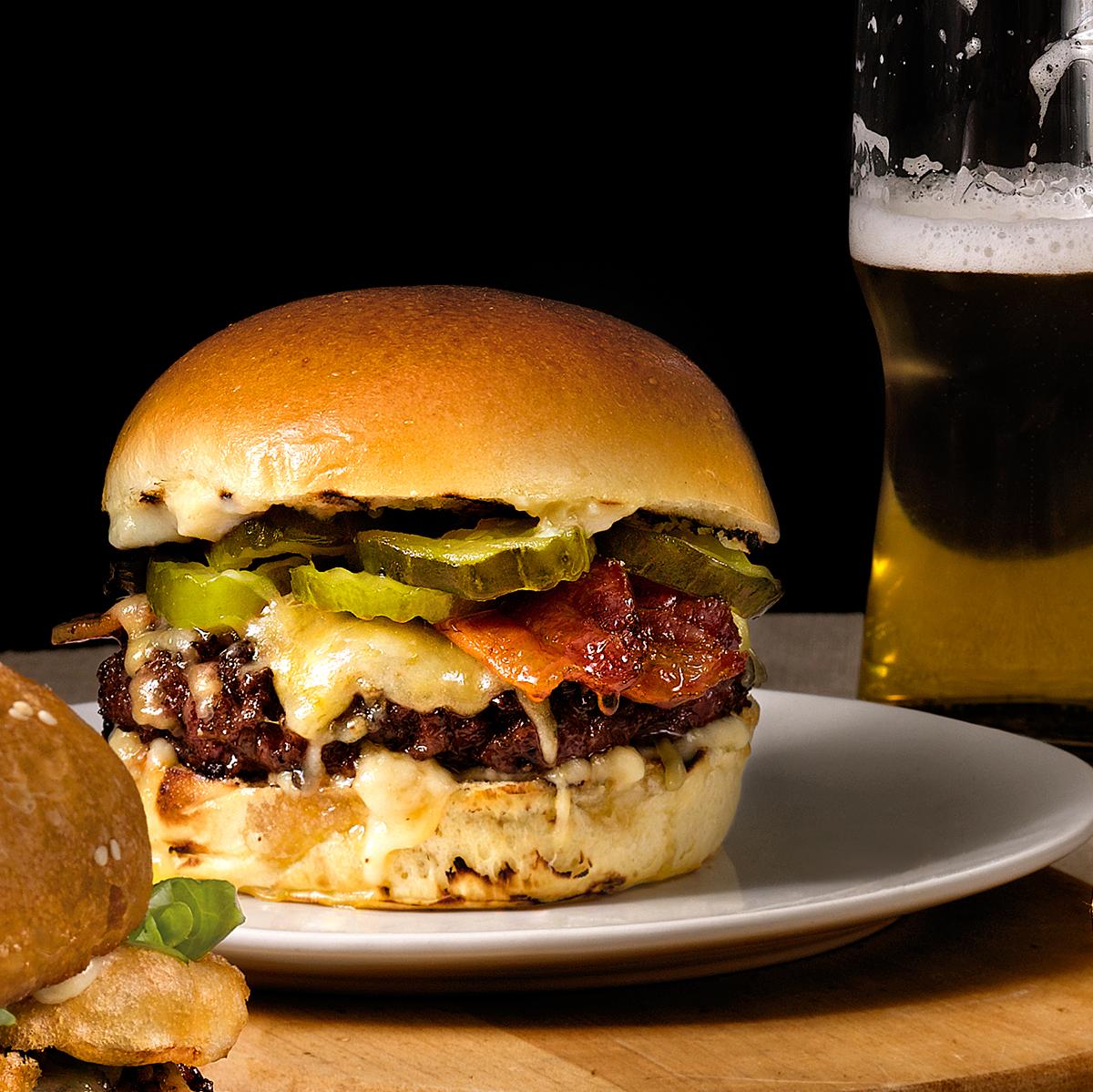 vie burger on plate