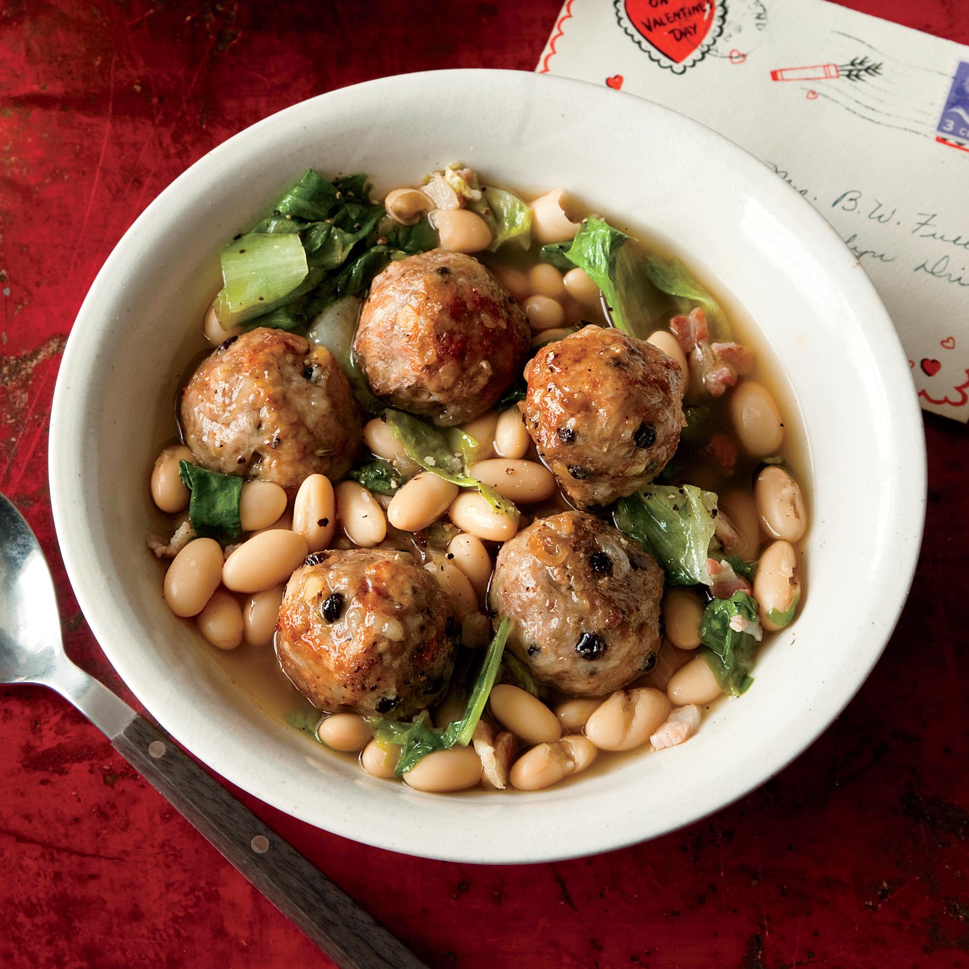 meatballs and minestra