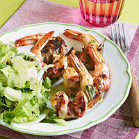 Mom's Pancetta-Wrapped Shrimp with Sage and Fennel and Celery Salad