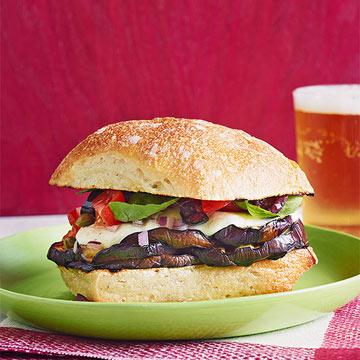 Grilled Eggplant & Mozzarella Sandwiches