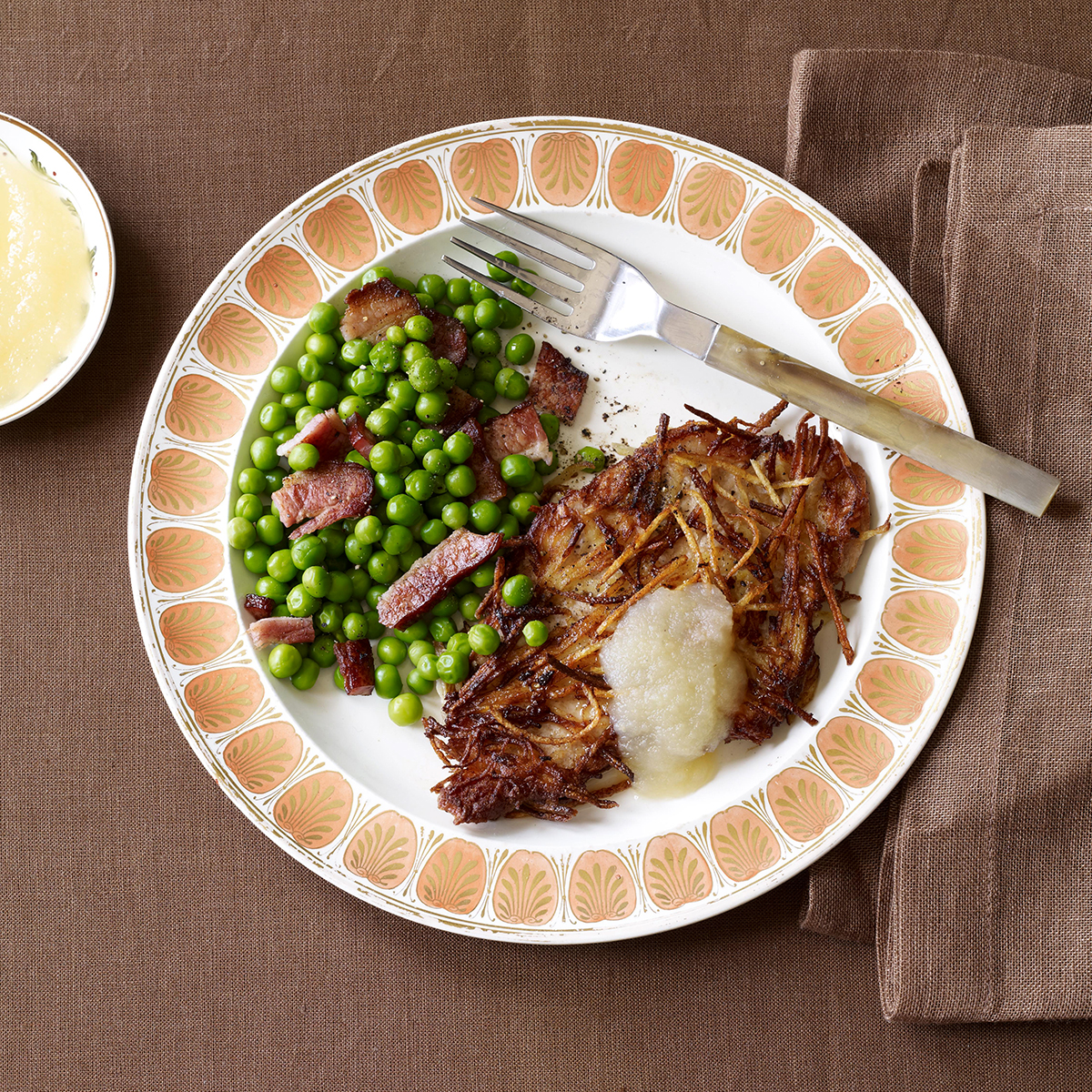 potato crusted pork cutlets with peas