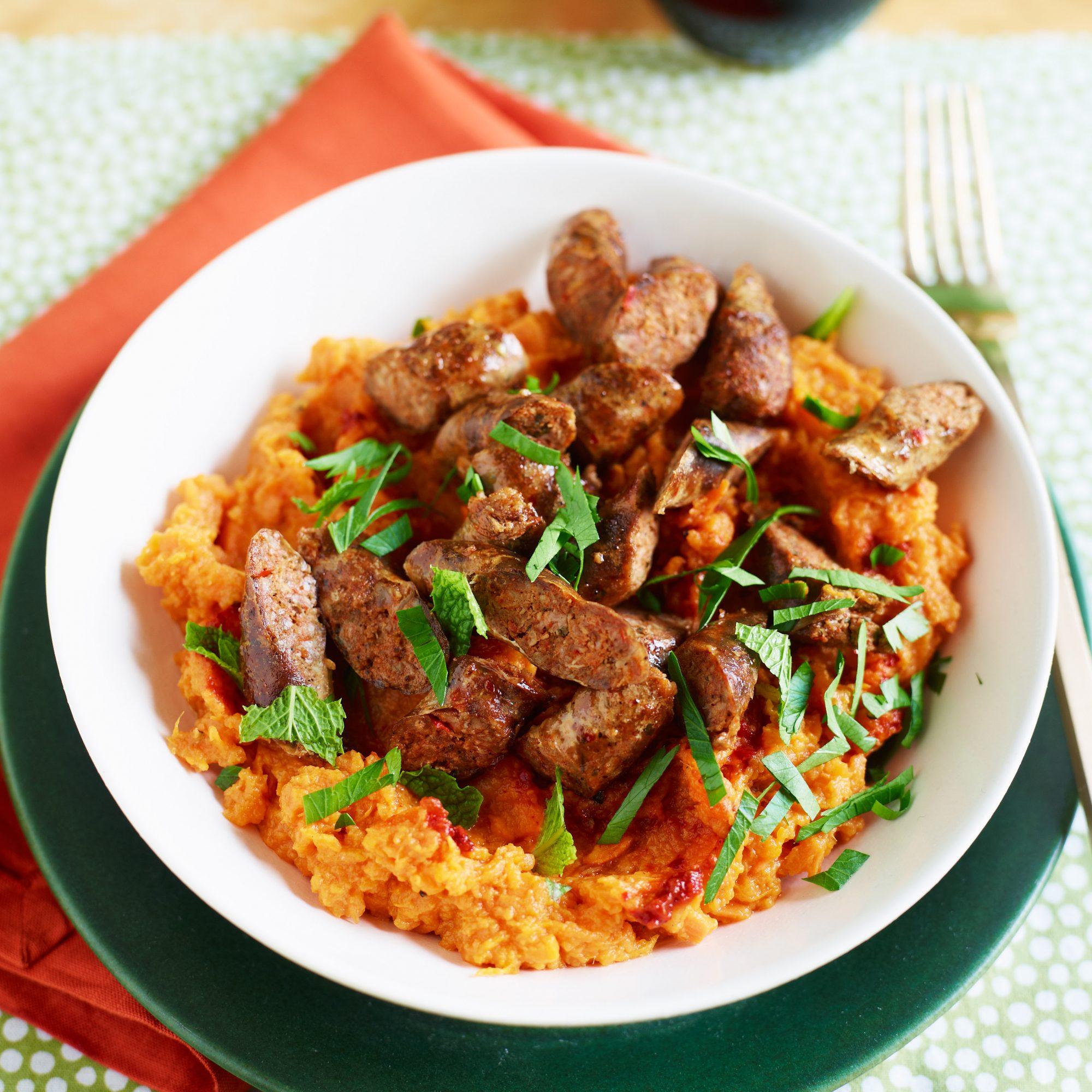 Lamb Sausage with Harissa Sweet Potatoes
