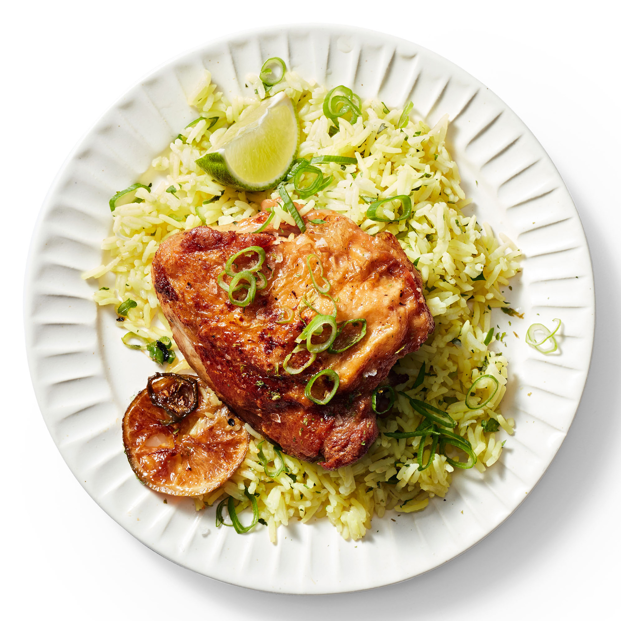 Chile-Lime Chicken Thighs with Herbed Rice