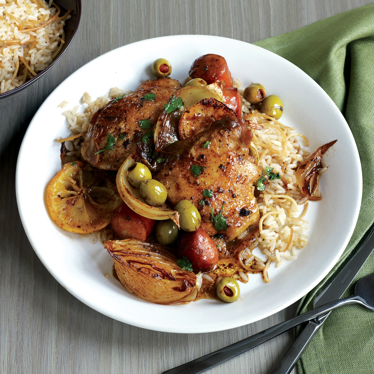 Lemon-Garlic Spanish Chicken Thighs and Rice Pilaf