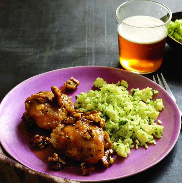Maple-Walnut Chicken Thighs and Cheddar-Apple Rice