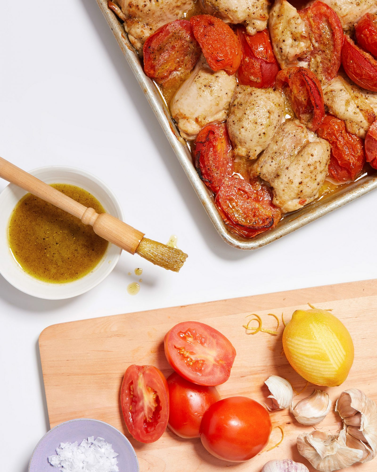 roasted chicken thighs with tomatoes
