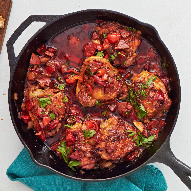 Spanish Chicken Thighs & Chorizo with Rosemary & Lemon