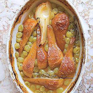 Wine-Roasted Pears and Grapes