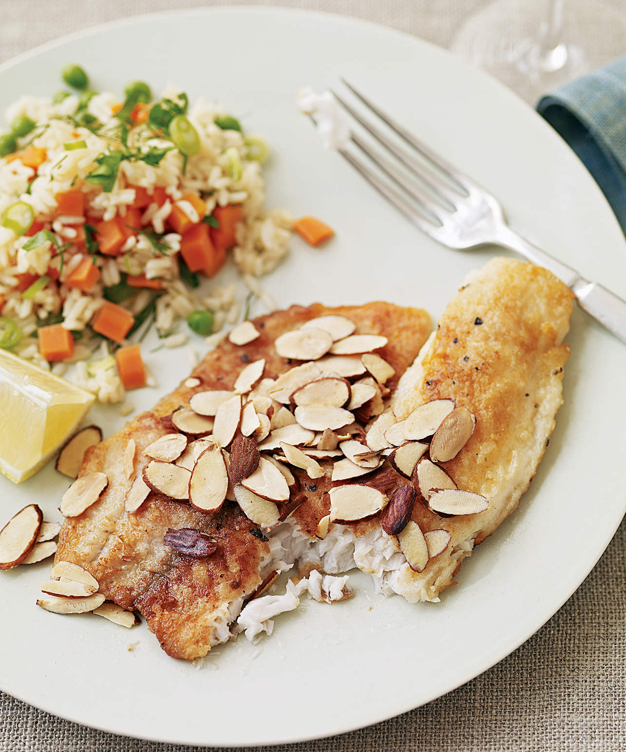 almond tilapia and peas-and-carrots rice