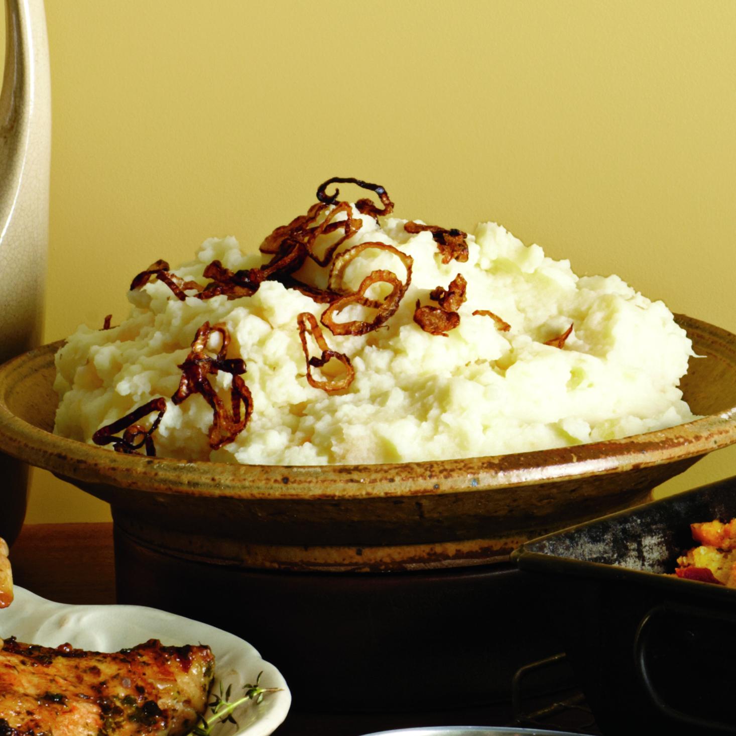 Potato-Turnip Mash with Crispy Fried Shallots