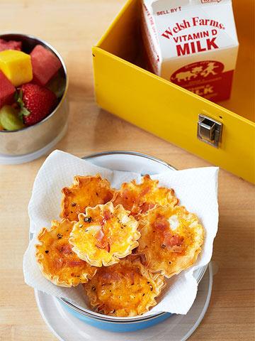 Mini meaty cheesy quiches