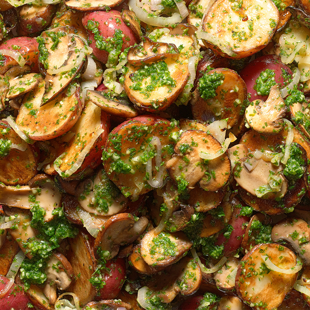 New Potatoes with Mushrooms