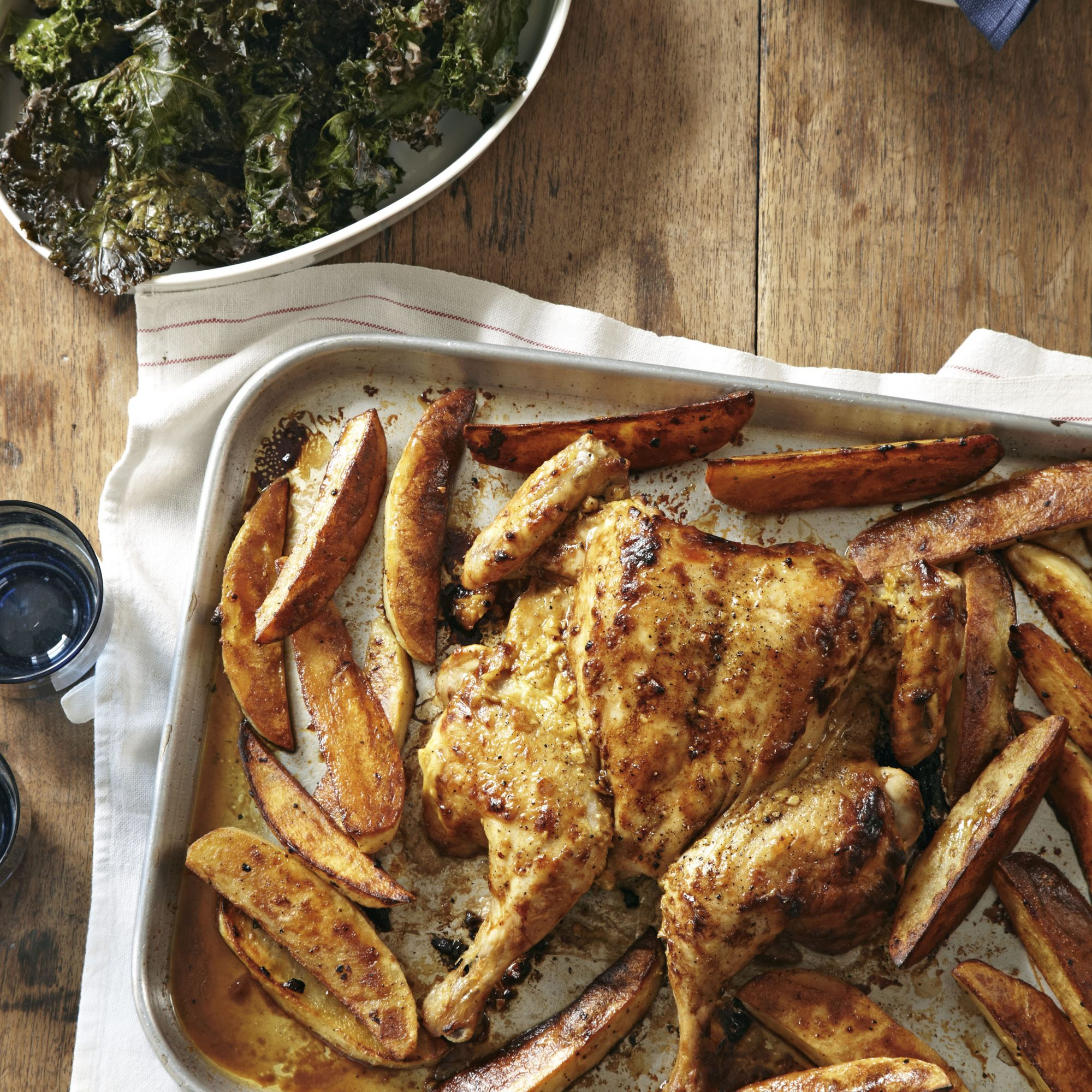 butterflied mustard chicken with potatoes and kale