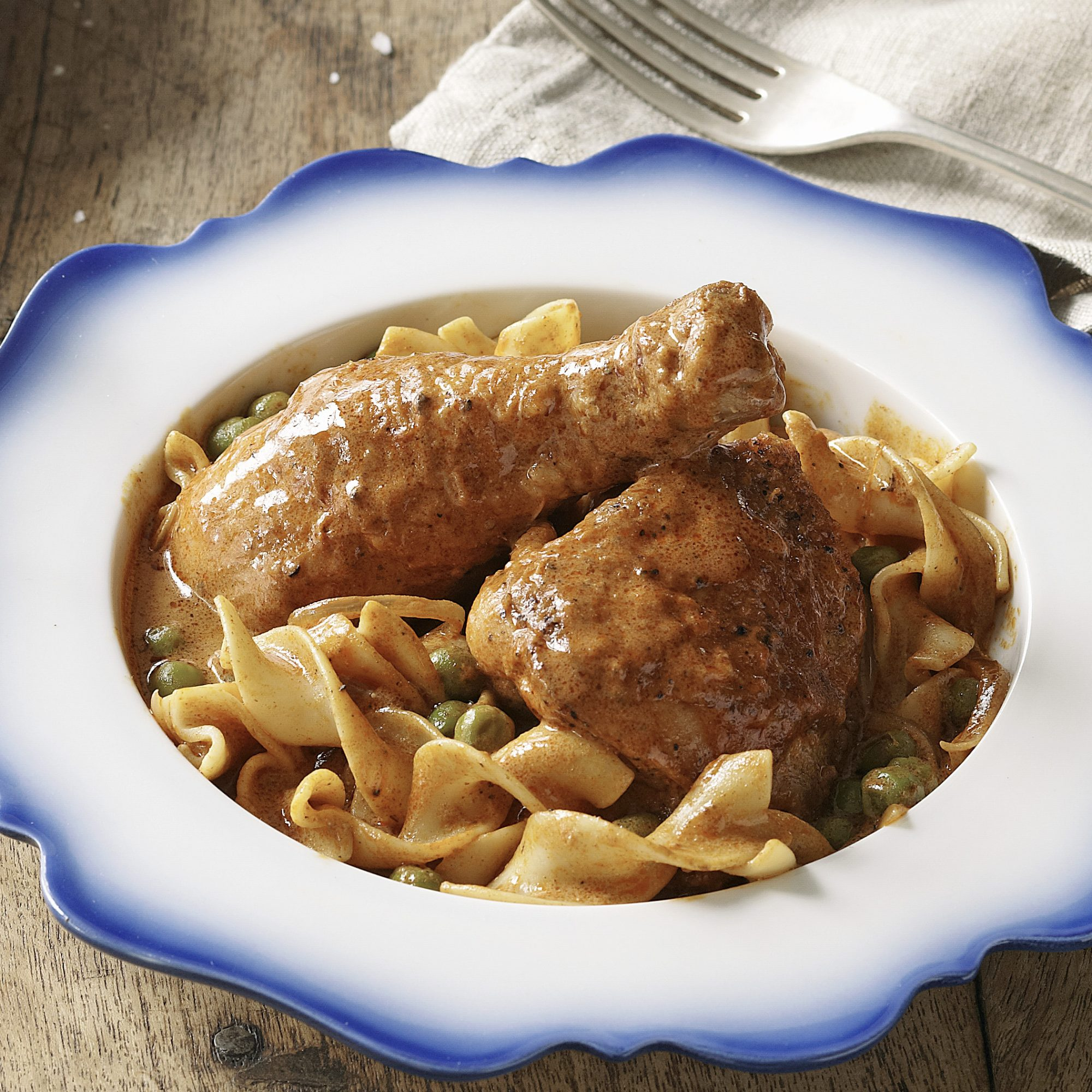 Paprika Chicken with Egg Noodles & Peas