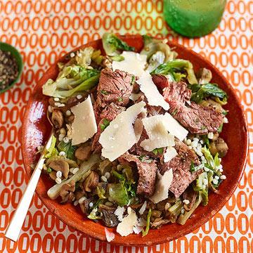 Warm Pearled Barley & Mushroom Salad with Sliced Flank Steak