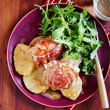 Pancetta-Wrapped Chicken Thighs with Potatoes