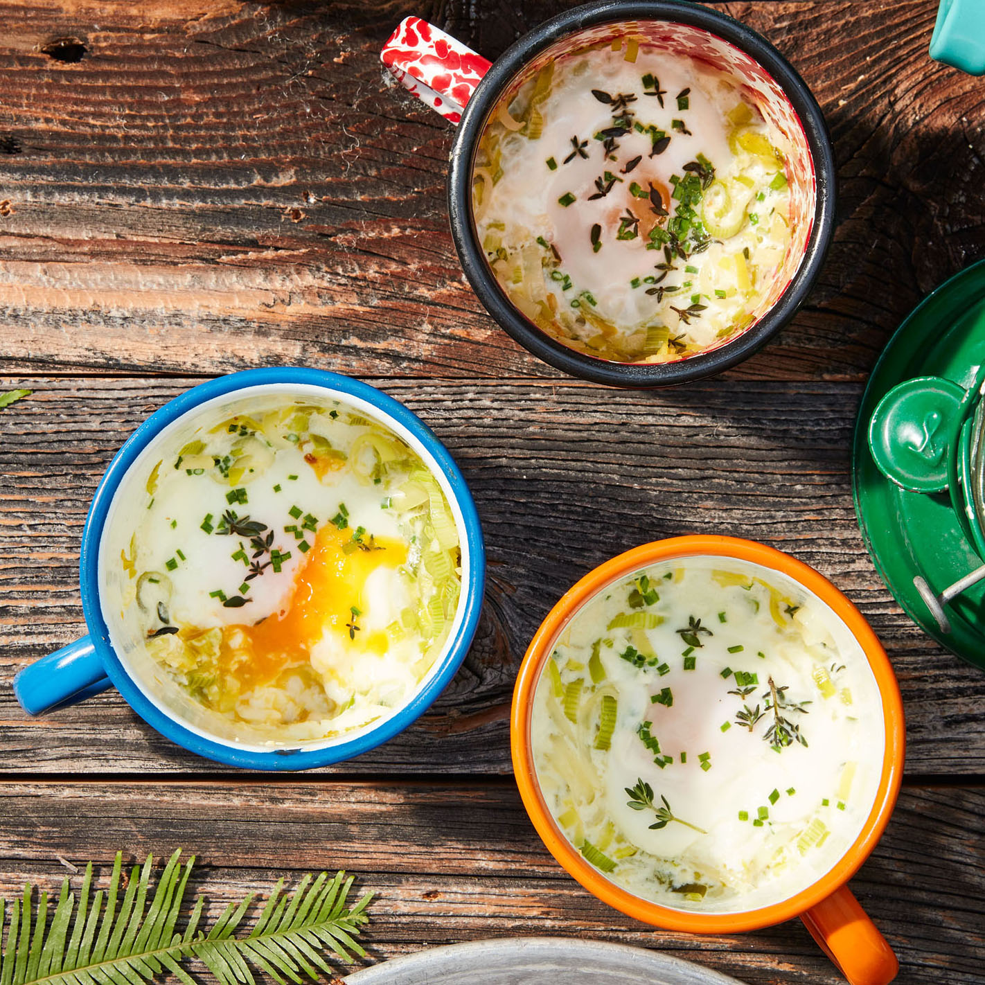 Campfire Eggs with Leeks & Herbs