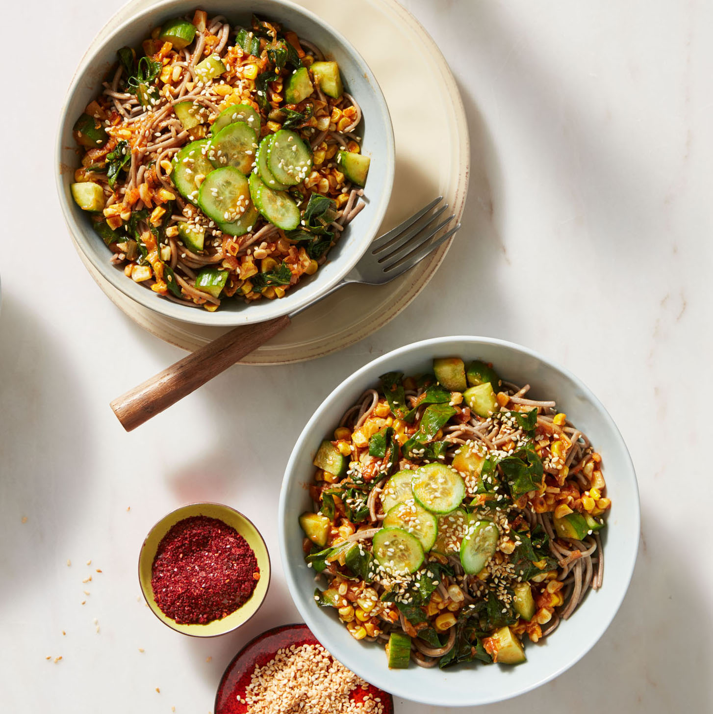 Rachael Ray's Spicy Korean-Style Soba Noodles with Corn, Leeks, Cucumber & Kale
