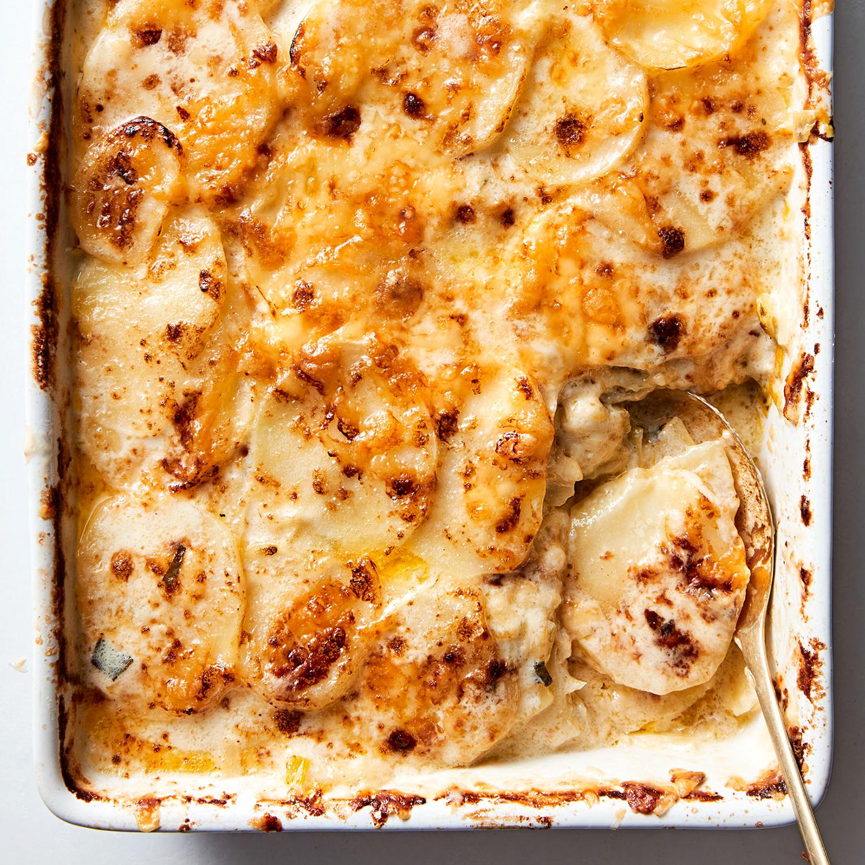 potato gratin with leeks and fontina